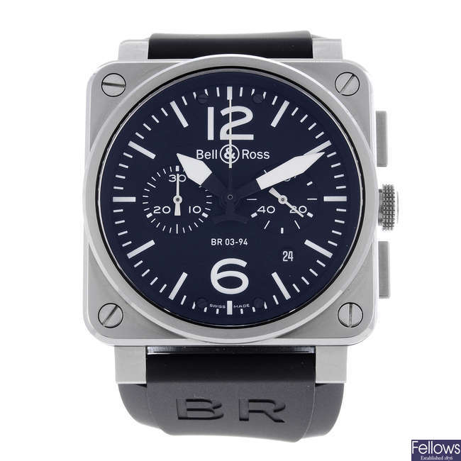 BELL & ROSS - a gentleman's stainless steel Aviation chronograph wrist watch.