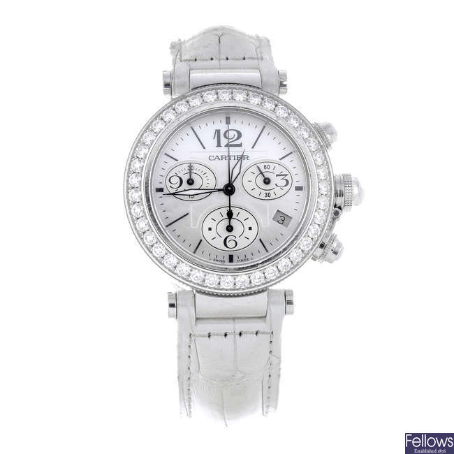 CARTIER - an 18ct white gold Pasha chronograph wrist watch.
