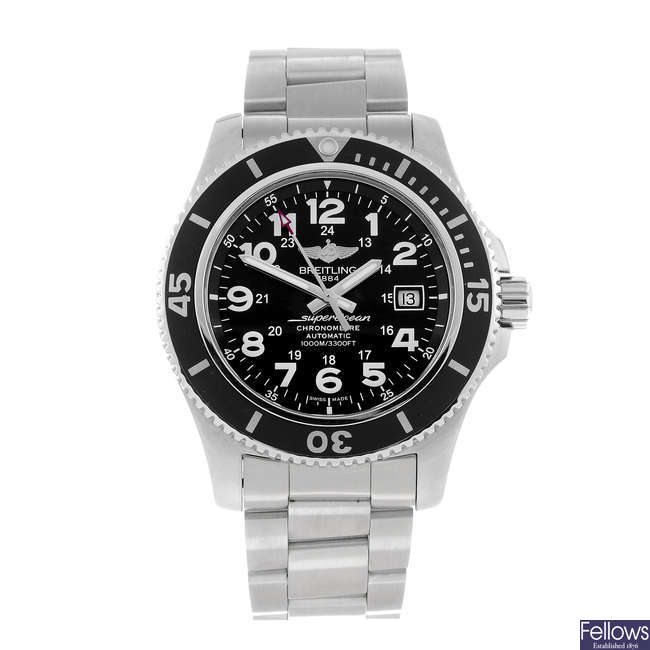 BREITLING - a gentleman's stainless steel SuperOcean II 44 bracelet watch.