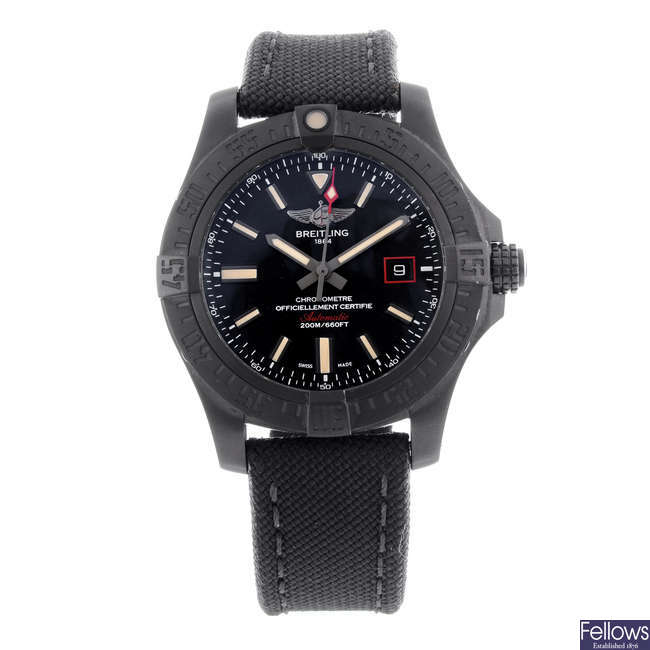 BREITLING - a gentleman's PVD-treated titanium Avenger Blackbird 44 wrist watch.