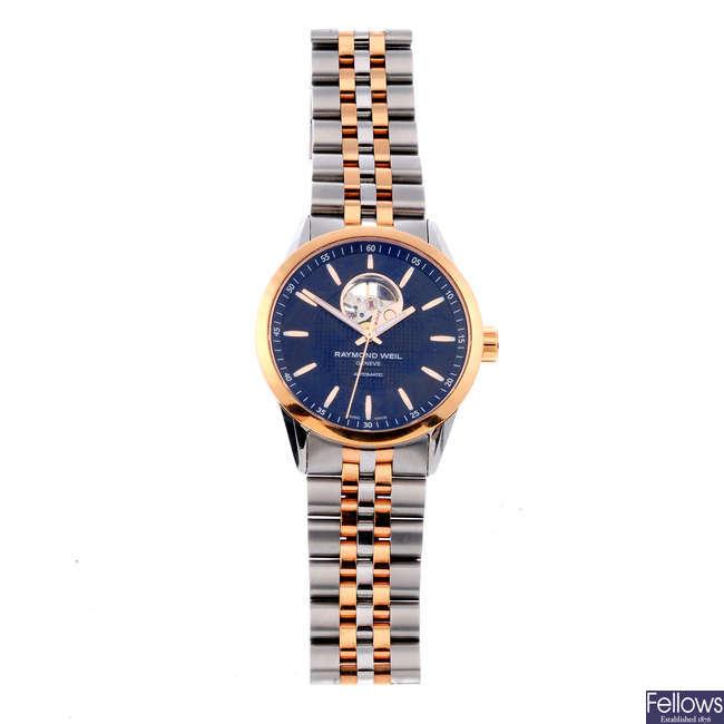 RAYMOND WEIL - a gentleman's bi-colour Freelancer bracelet watch.