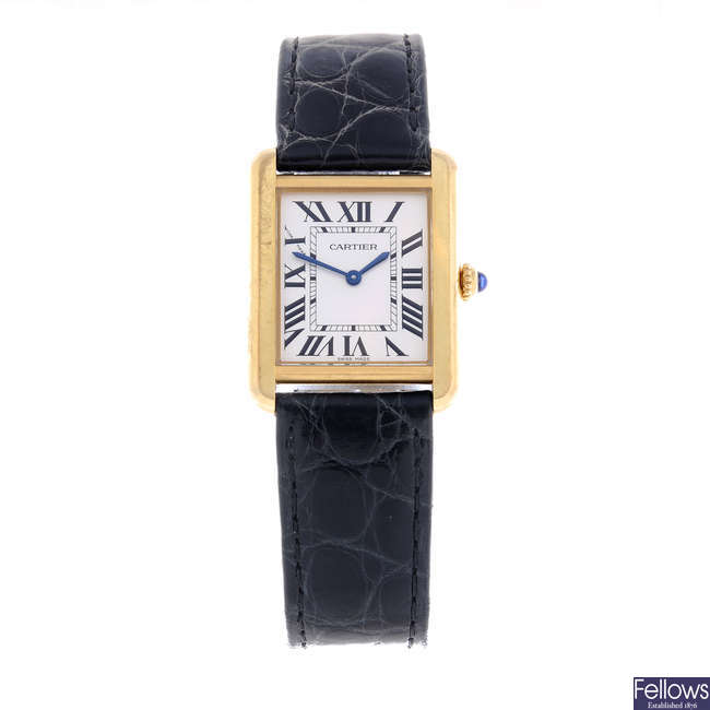 CARTIER - a bi-metal Tank Solo wrist watch.