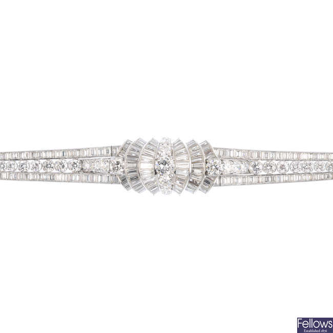 A mid 20th century diamond bracelet.