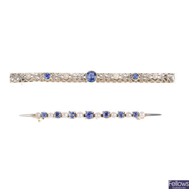 Two sapphire and seed pearl bar brooches.