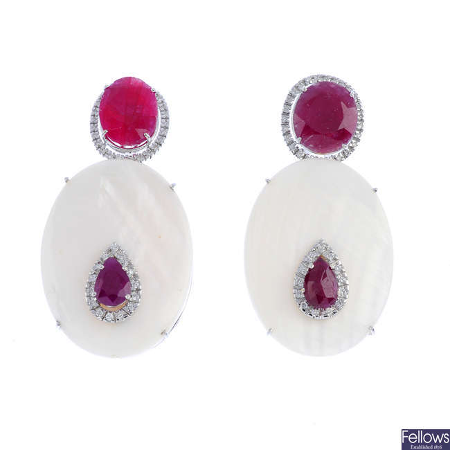 A pair of diamond, glass-filled ruby and mother-of-pearl earrings.