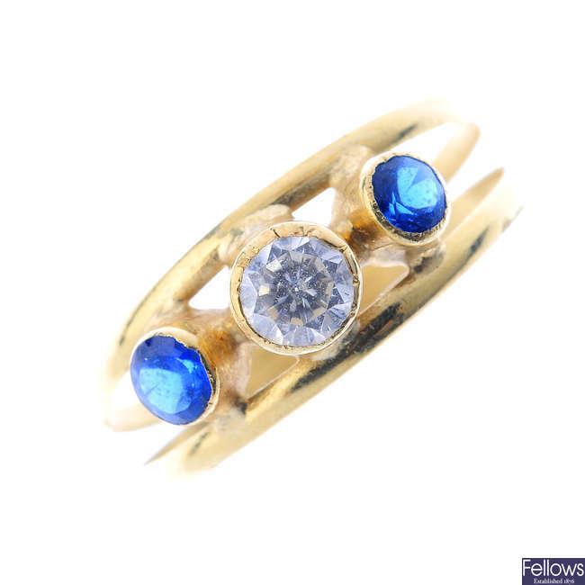 Three gem-set rings.