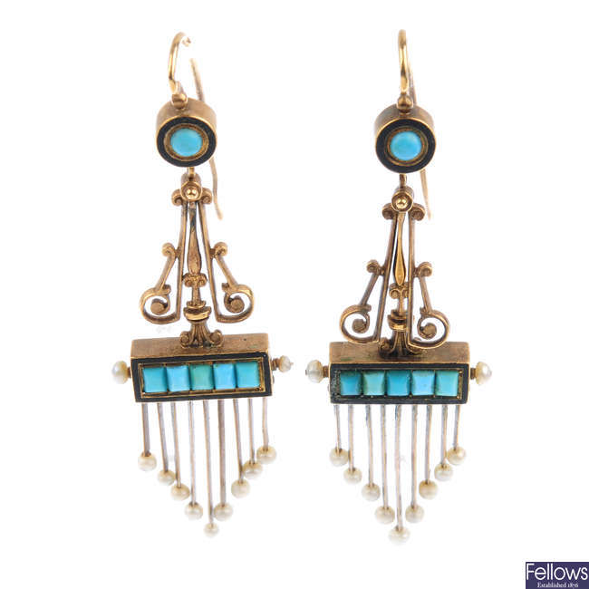 A pair of mid Victorian gold turquoise, seed pearl and enamel earrings, circa 1870.