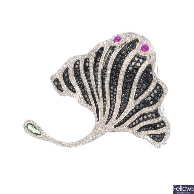 A ruby, diamond and gem-set stingray brooch.