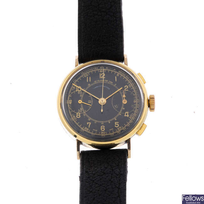 A gentleman's gold plated chronograph wrist watch.
