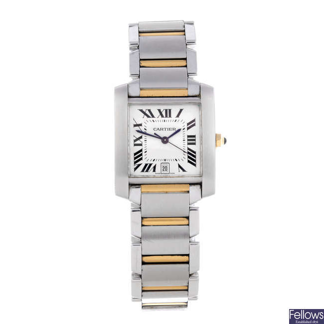 CARTIER - a bi-metal Tank Francaise bracelet watch.