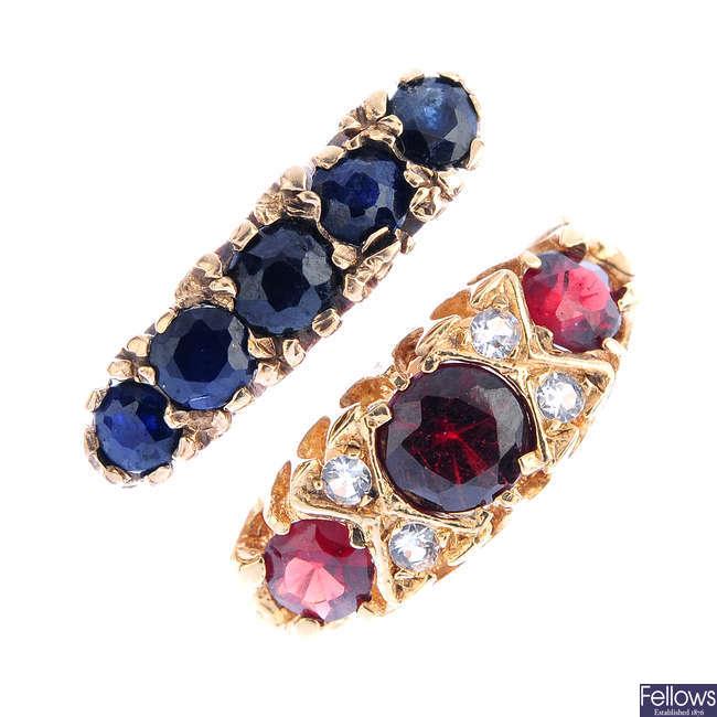 Six 9ct gold gem-set rings.