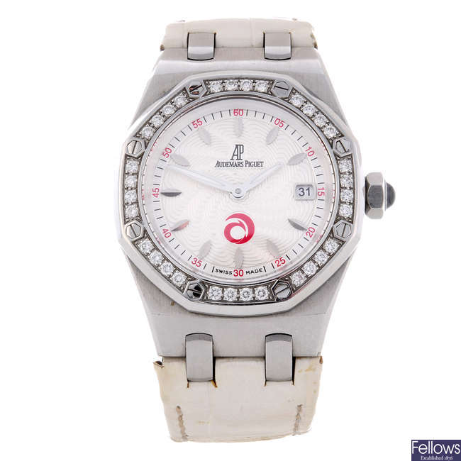 AUDEMARS PIGUET - a limited edition lady's white metal Royal Oak Lady Alinghi wrist watch.