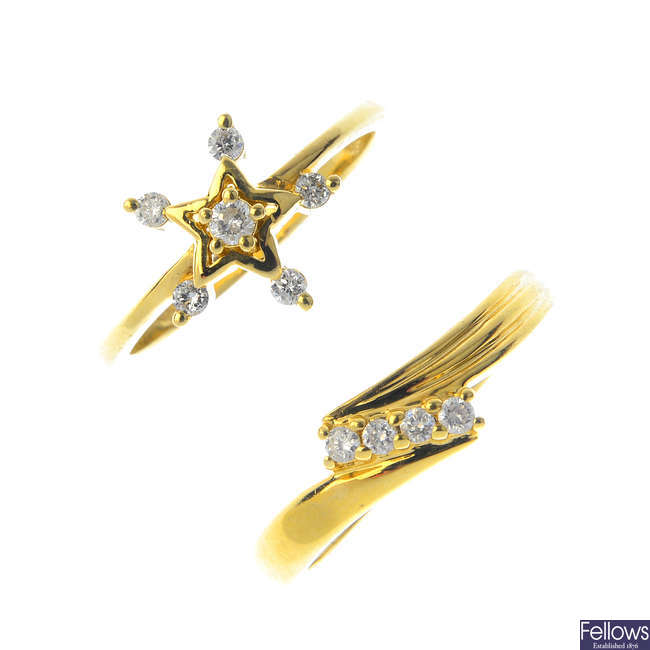 Two 14ct gold diamond dress rings.