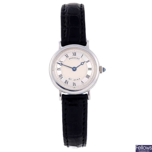 BREGUET - a lady's 18ct white gold wrist watch.