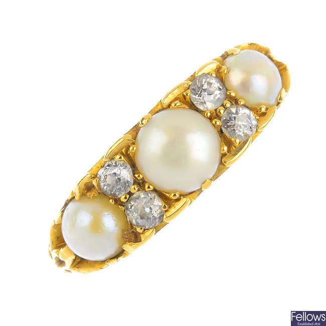 A late Victorian 18ct gold split pearl and diamond ring.