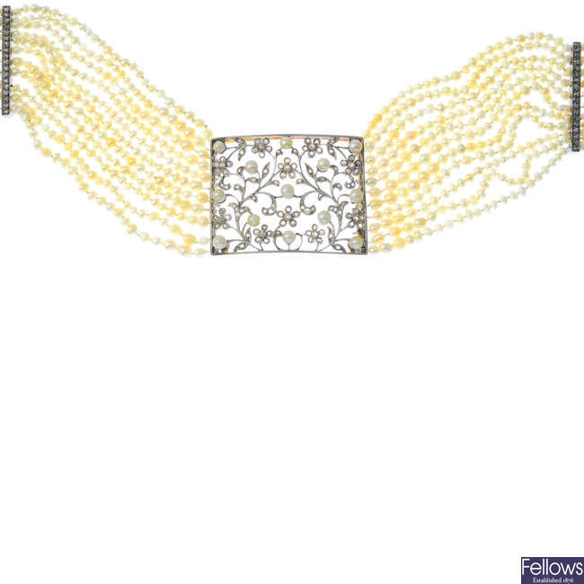 A diamond, pearl and seed pearl choker.