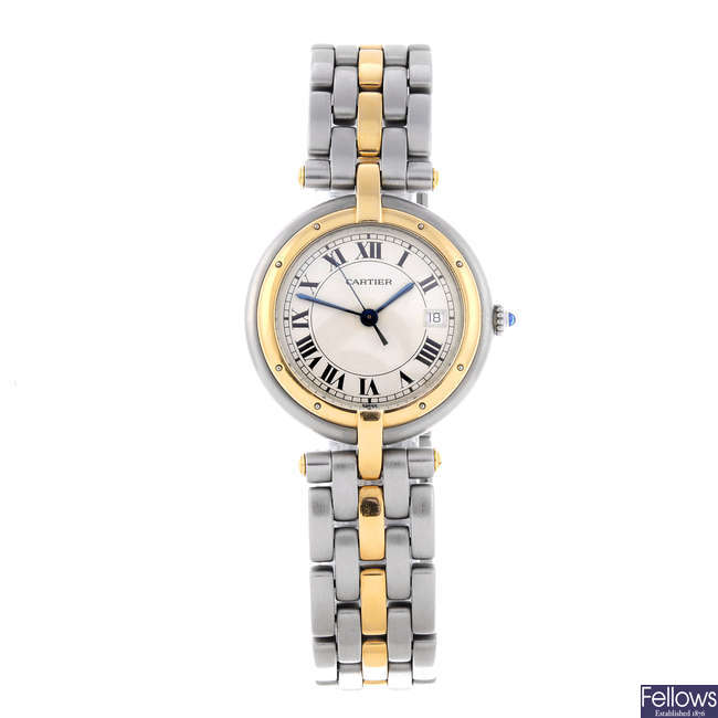CARTIER - a bi-metal Panthere Vendome bracelet watch.