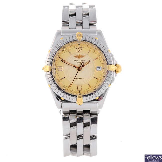 BREITLING - a gentleman's stainless steel Wings bracelet watch.