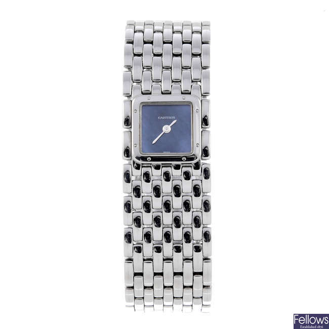CARTIER - a stainless steel Panthere Ruban bracelet watch.
