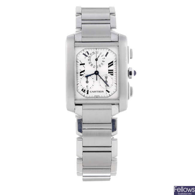 CARTIER - a gentleman's stainless steel Tank Francaise Chronoflex chronograph bracelet watch.