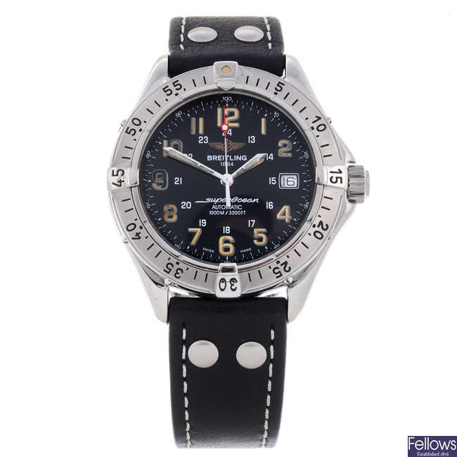 BREITLING - a gentleman's stainless steel SuperOcean wrist watch.