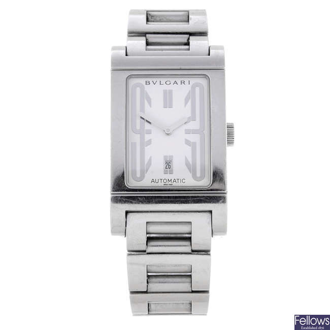 BULGARI - a gentleman's stainless steel Rettangolo bracelet watch.