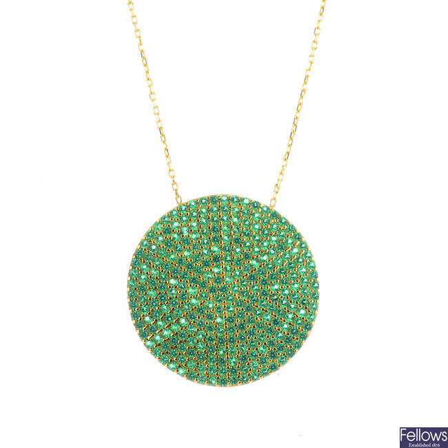 A green garnet pendant.