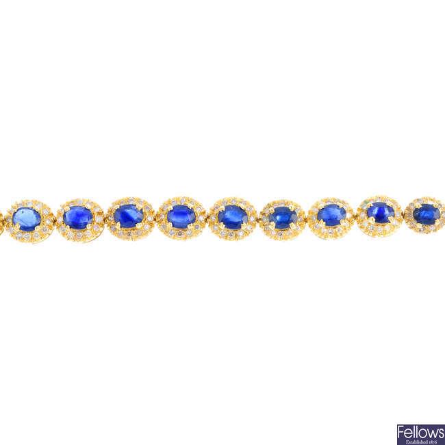 A sapphire and diamond bracelet.