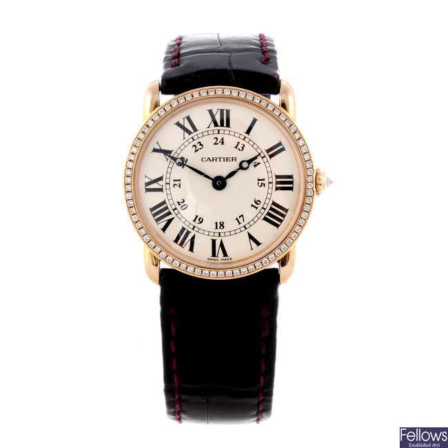 CARTIER - an 18ct yellow gold Ronde Louis Cartier wrist watch.
