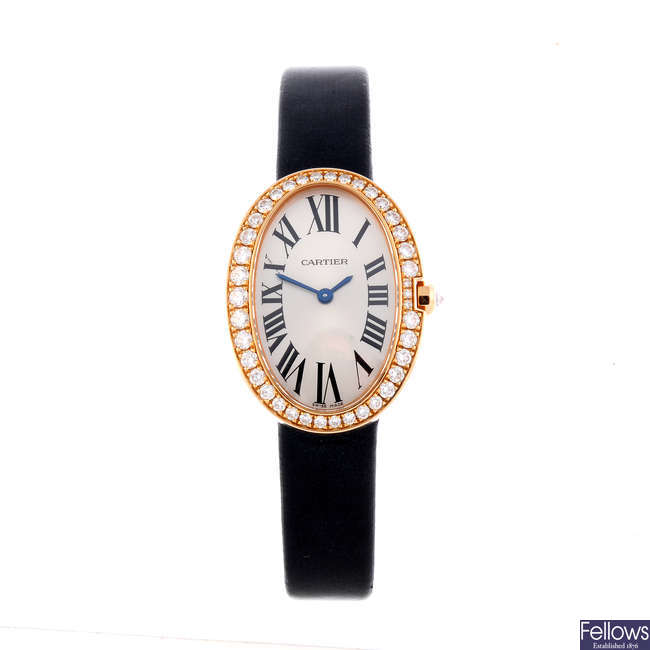 CARTIER - an 18ct yellow gold Baignoire wrist watch.