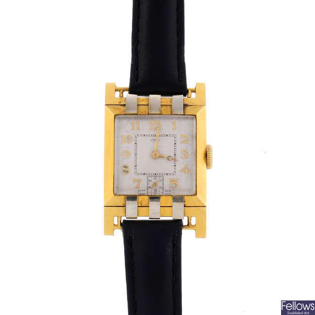 A lady's yellow metal bracelet watch.