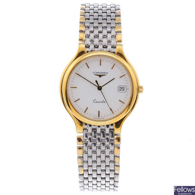LONGINES - a gentleman's bi-colour Flagship bracelet watch.