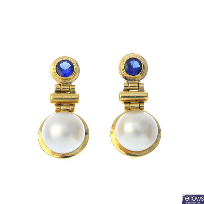 A pair of 9ct gold sapphire and mabe pearl earrings.