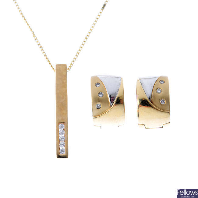 A pair of diamond earrings, a 9ct gold pendant and two chains.