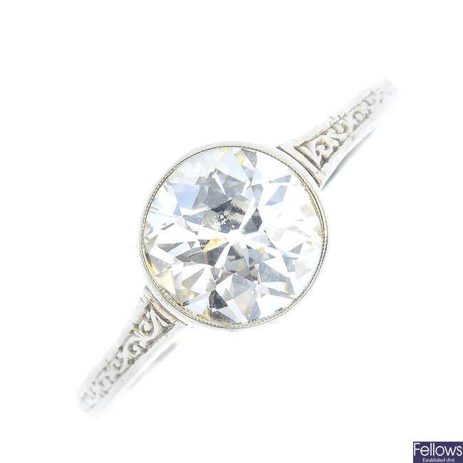 An early 20th century gold diamond single-stone ring.