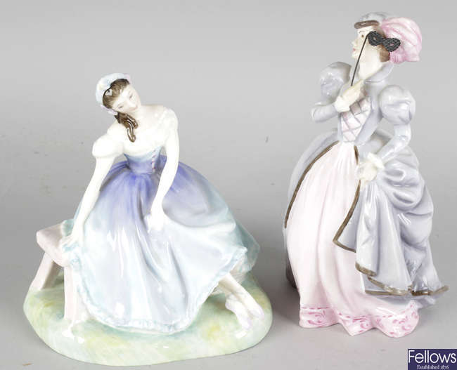 A Royal Doulton figurine and a Royal Worcester figurine