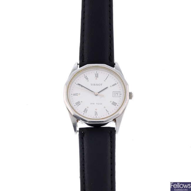 TISSOT - a gentleman's stainless steel PR100 wrist watch.