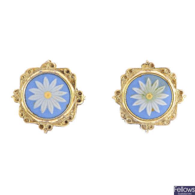 WEDGEWOOD - a pair of sterling silver jasperware earrings.
