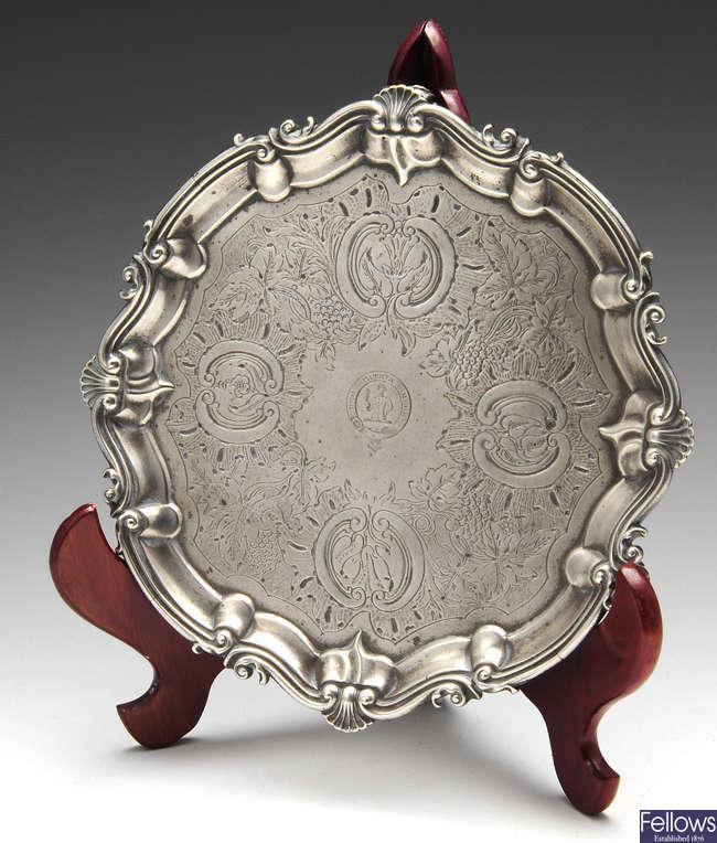 An early Victorian silver salver.