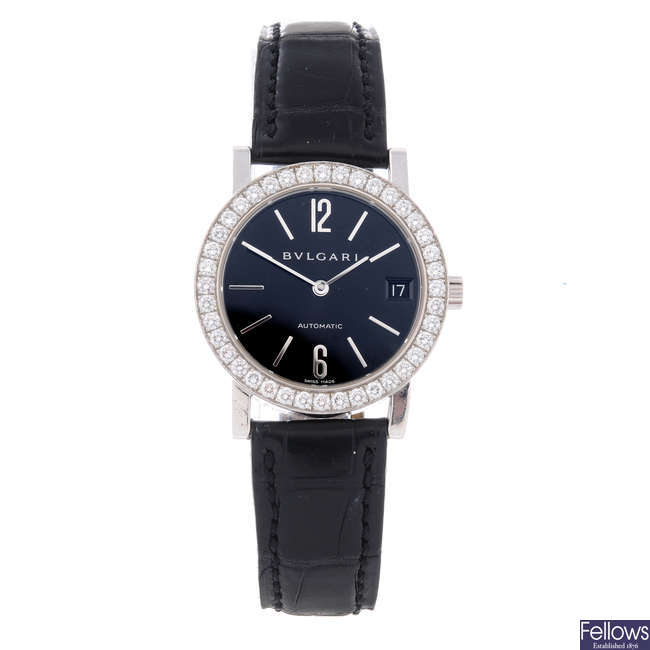 BULGARI - a mid-size 18ct white gold wrist watch.
