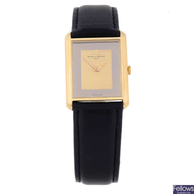 BAUME & MERCIER - a gentleman's yellow metal wrist watch.