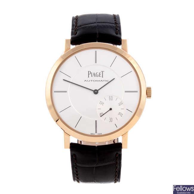 PIAGET - a gentleman's 18ct rose gold Altiplano 'Ultra-Thin' wrist watch.