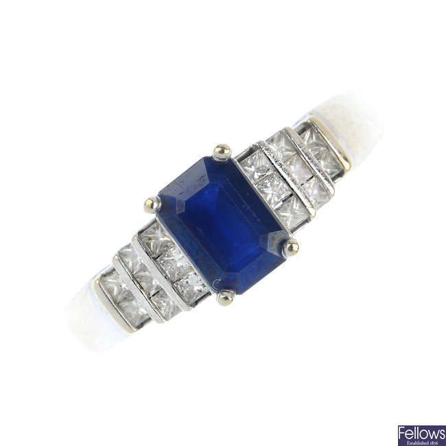 A 9ct gold sapphire and diamond ring.