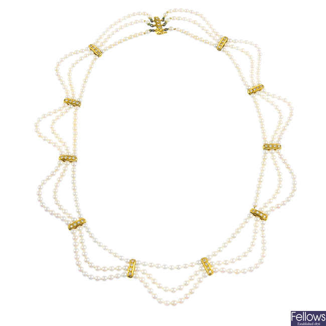 An 18ct gold seed pearl and diamond necklace.