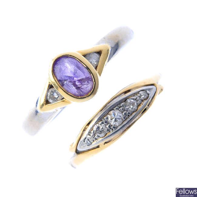 Three diamond and amethyst rings.
