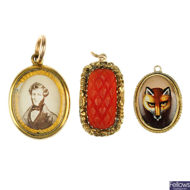 Three mid to late Victorian pendants.