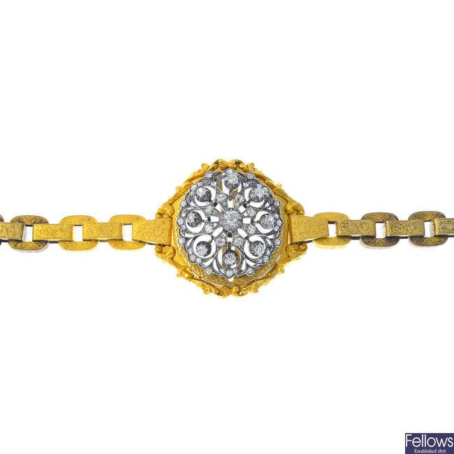 A mid Victorian bracelet, with detachable diamond centre piece.