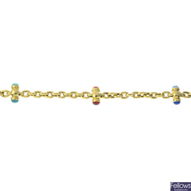 An 18ct gold gem-set bracelet.