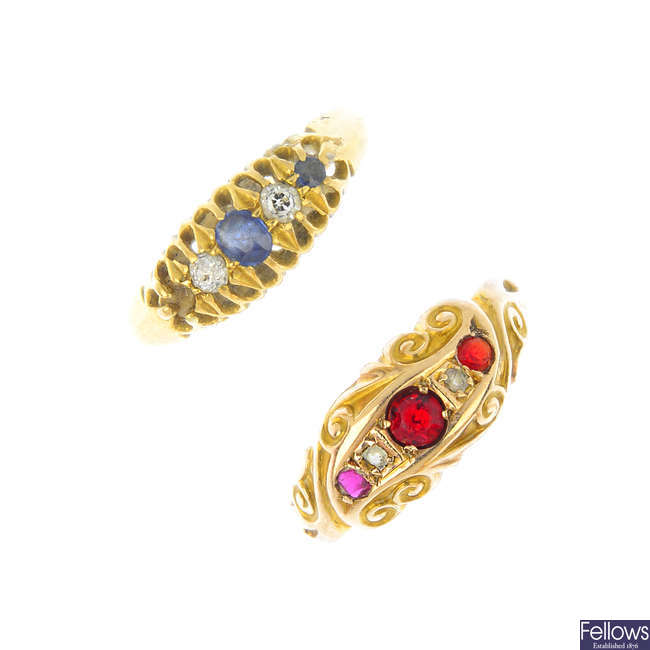 Two early 20th century gold gem-set rings.