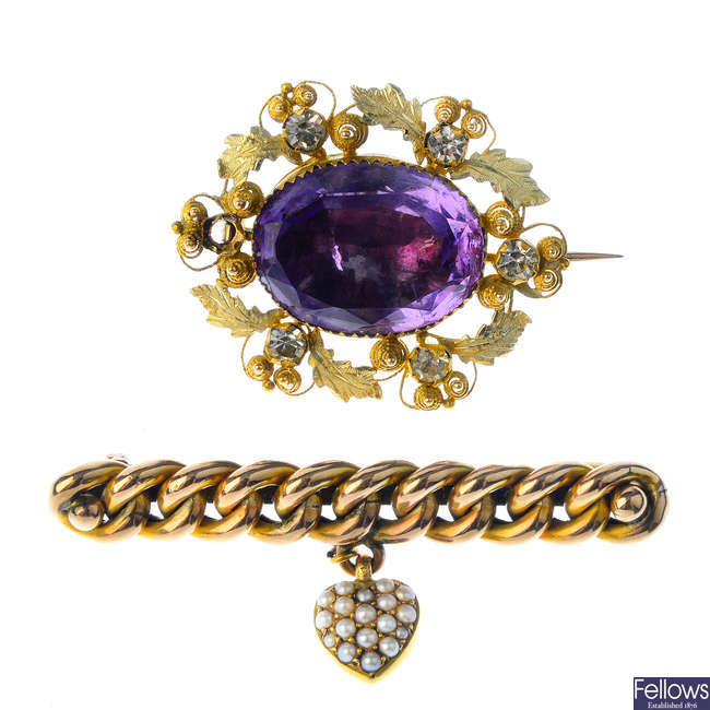 Two late Victorian gold gem-set brooches.
